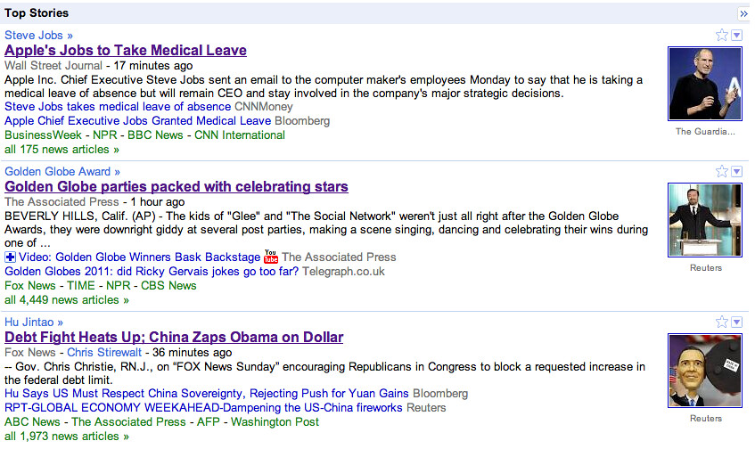 Google News top stories Jan. 17, 2011