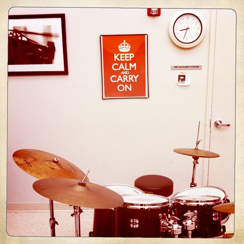 """Keep Calm and Carry On"" drumming"