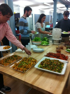 Yum, @foursquare employees excited for another amazing meal by the lovely @sarahmcsimmons.
