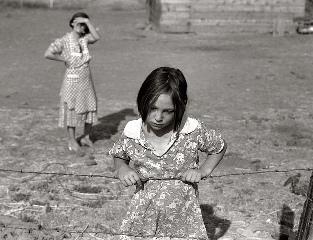One of Chris Adolph's younger children, Farm Security Administration Rehabilitation clients, Washington, Yakima Valley, near Wapato, by Dorothea Lange 1939