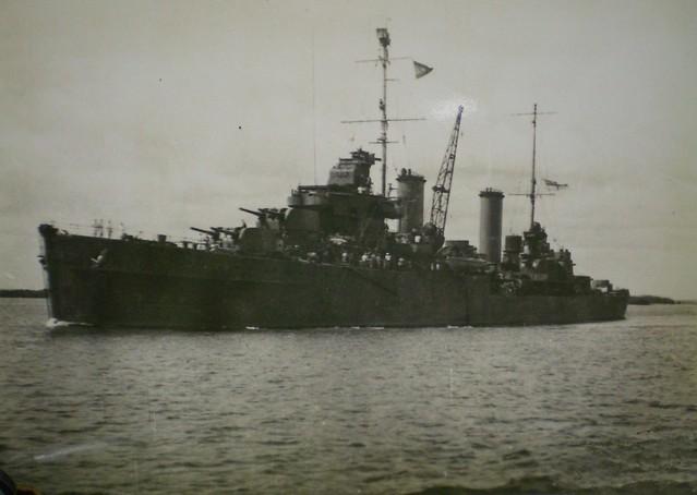 THE PACIFIC WAR: Modified Leander Class cruiser HMAS HOBART 1942 - Collection of Alan Meade, RAN 1943-1946.