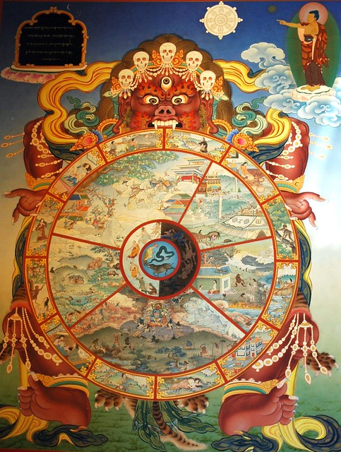 Traditional wall mural of Yama holding the wheel of life ...