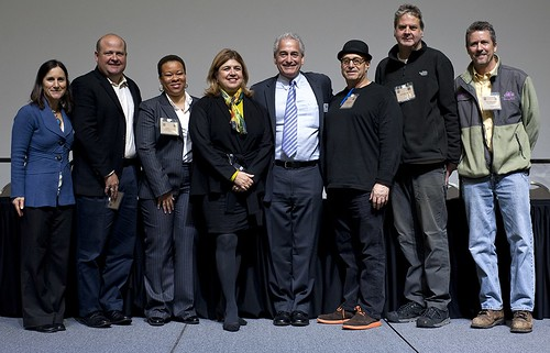 From left to right: Deborah Kane, USDA Farm to School Program; Tim Snyder, Seeds of Change; Leslie Fowler, Chicago Public Schools; Anne Alonzo, AMS Administrator; Jim Slama, FamilyFarmed.org; Paul Saginaw, Zingerman's; Ken Waagner, e.a.t.; and Tom Spaulding, Angelic Organics Learning Center.  The Good Food Festival & Conference is the oldest sustainable and local food trade show in America.