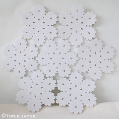 Hand stitched snowflake placemat