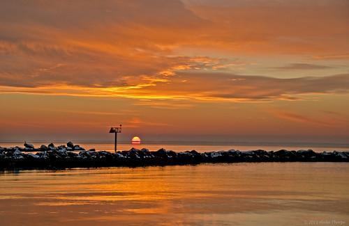 clouds sunrise reflections jetty longislandny sayville brownsriver greatsouthbay navigationalmarker