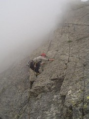 Mike climbing into the clouds and the onset of bad weather Image