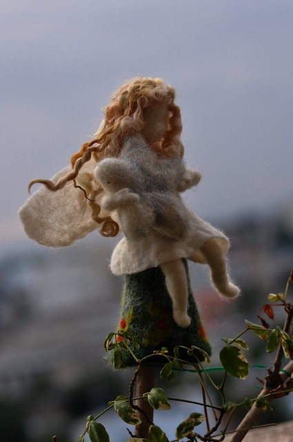 Star Keeping Angel-Christmas Tree Topper-Needle felted soft sculpture.Christmas Tree decoration-Waldorf inspired