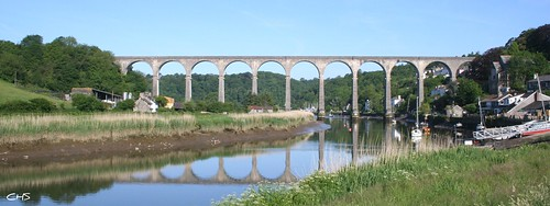 Calstock Railway Viaduct, River Tamar by Stocker Images