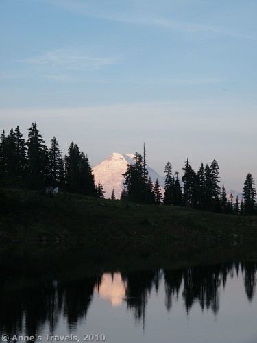 The cone of Mt. Baker across the Twin Lakes at sunrise, Washington
