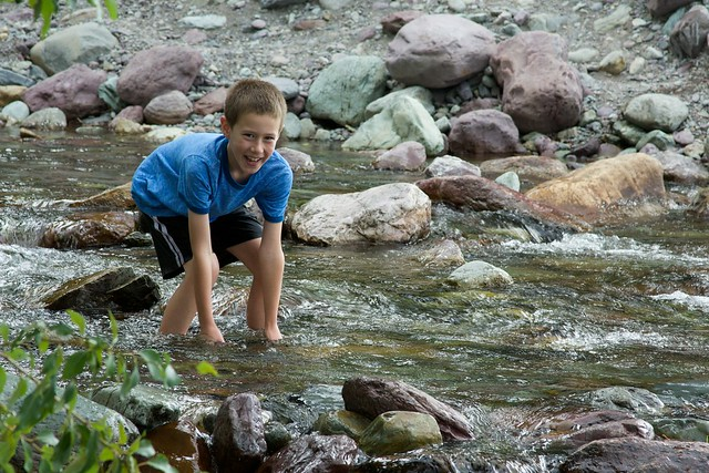 Kellen in the stream