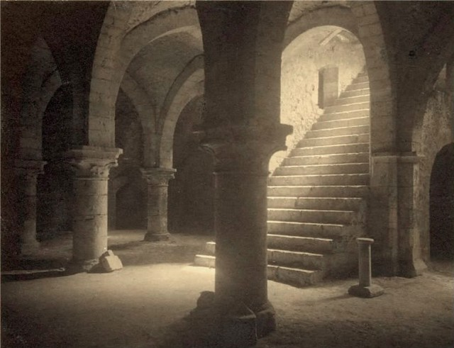 Ancient crypt cellars in Provins, France, by Frederick H. Evans 1910