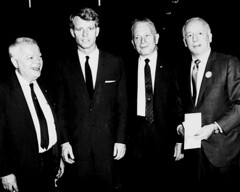 Four men, including Robert F. Kennedy, David Dubinsky, and Louis