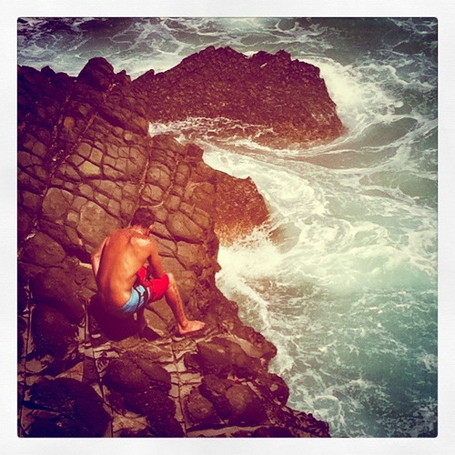 Cliff diving in Wales.