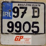 IRELAND, DUBLIN 1997 ---MOTORCYCLE PLATE with DEALER TAG