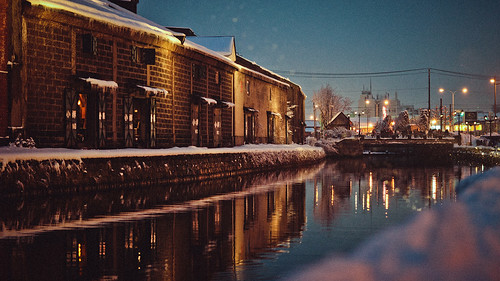 Canal and Snow Night.