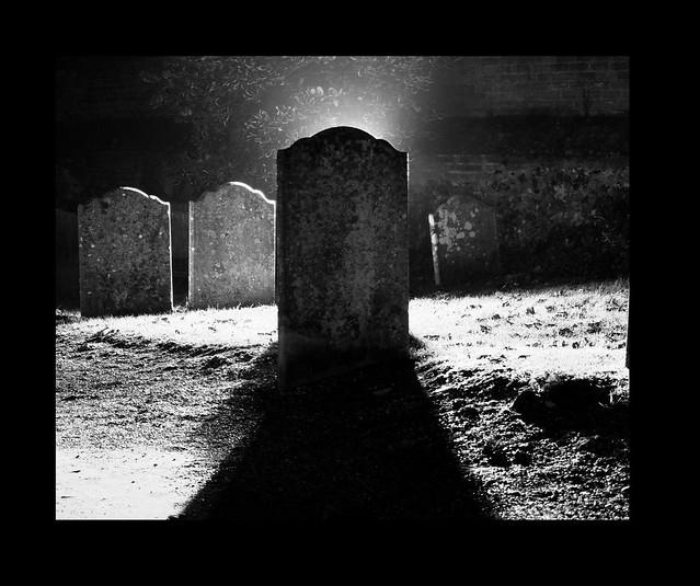 Gravestone At Night