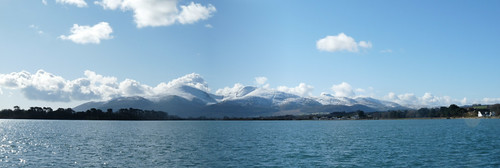 The Mournes from Dundrum Apartments: panorama