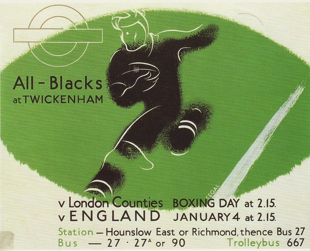 """All Blacks at Twickenham"" London Transport Museum 1935 REPRO"