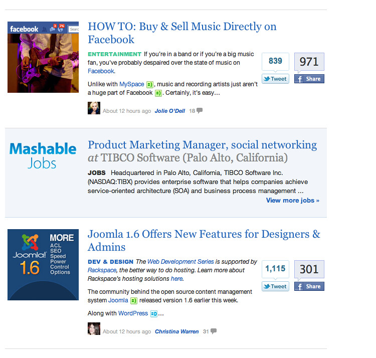 Mashable Jobs within a stream of content