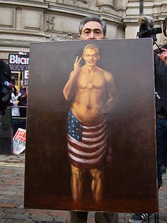 Blair wears the American flag - Tony Blair protest, Chilcot Iraq Inquiry 21 January 2011