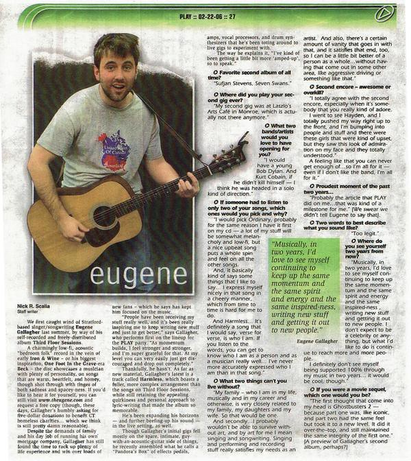New Haven CT Play Magazine - February 22, 2006 - eugene interview