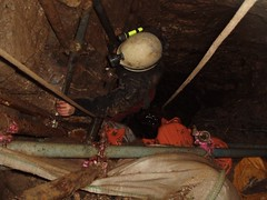 Helen at the very bottom of the cave amoungst the scaffolding of my old digging project Image