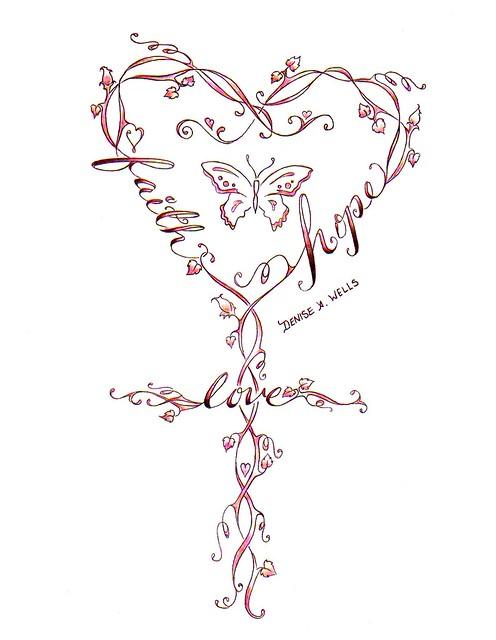 FaithLoveHope Cross Tattoo Design by Denise A Wells