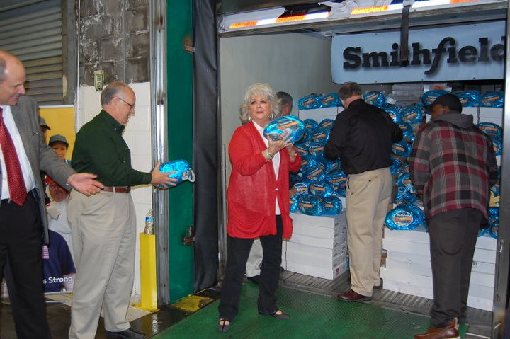 Unloading Smithfield hams in Philadelphia - one of ten cities visited by Smithfield Foods during their Helping Hungry Homes Across America tour