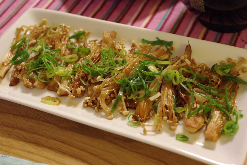 Saute of enokidake mushrooms