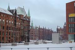 Scorci di Speicherstadt sotto la neve