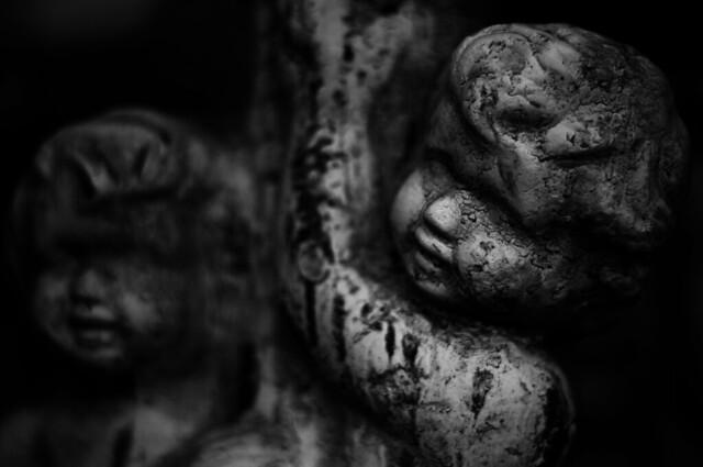 cherubs,  black and white