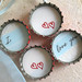 4 Simply Romantic- I Love You- Up Cycled Bottlecap Magnets with Light Blue Organza Bag