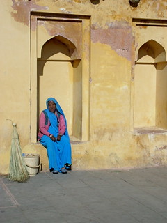 A lady sweeper in the Amber Fort