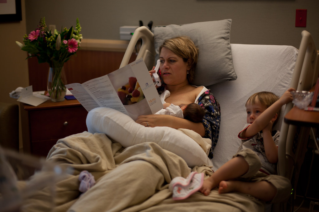 Breast feeding, watching television and ordering room service