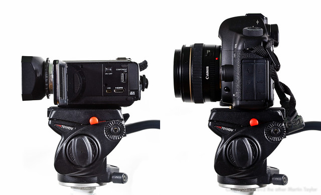 Manfrotto 701HDV with Sanyo FH1 & Canon 5D II
