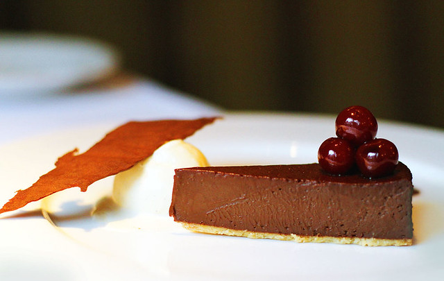 Chocolate tart , Griottine cherries and salt caramel ice cream