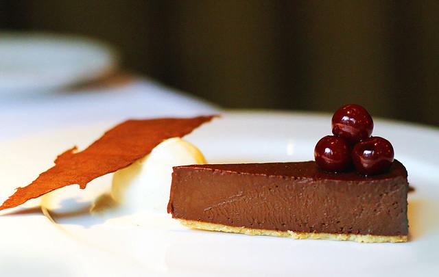 Chocolate tart , Griottine cherries and salt caramel ice cream