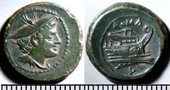 43/6 Luceria L Semuncia. Roman mint. Mercury; ROMA / Prow, narrow angled stem / L, in circle. BNF Paris Armand-Valton 645, 3g92