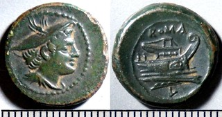 43/6 Luceria L Semuncia. Roman mint. Mercury; ROMA / Prow, narrow angled stem / L, in circle. BNF Paris Armand-Valton 645, 3g92