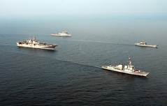 GULF OF THAILAND (Feb. 14, 2011) Ships of the forward-deployed Essex Amphibious Ready Group, along with Royal Thai Navy ship HTMS Surin (LST 722) and USS Stockdale (DDG 106), steam in formation during exercise Cobra Gold 2011. (U.S. Navy photo by Mass Communication Specialist 2nd Class Eva-Marie Ramsaran)