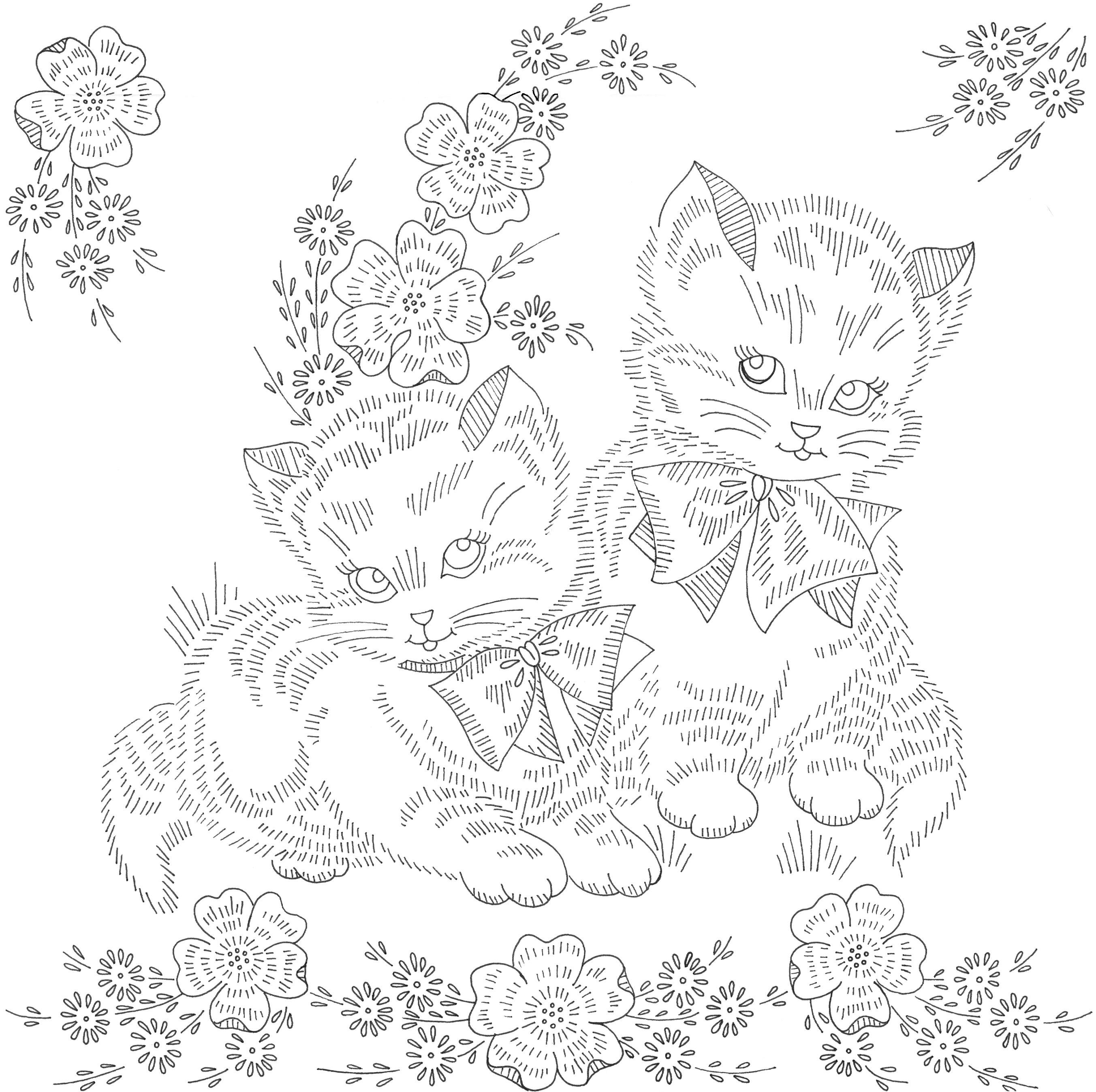 kittens preprinted linen