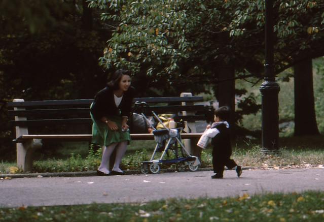 NYC 1987 Central Park - mother and child