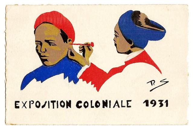 Carte Peint Main Encre de Chine - Exposition Coloniale 1931 - Cureur d´Oreilles