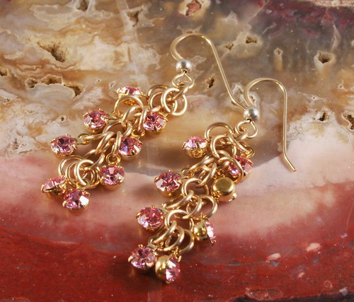 Shaggy Loop Chainmaille Earrings in Pink