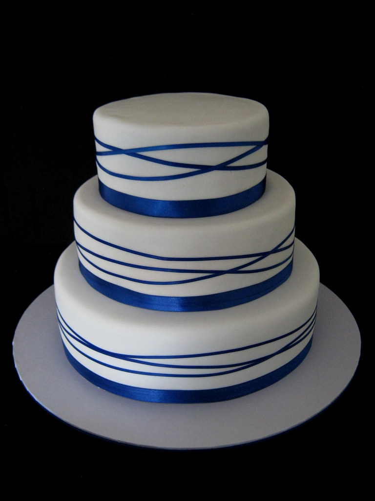 royal blue wrapped ribbon wedding cake flickr photo sharing. Black Bedroom Furniture Sets. Home Design Ideas