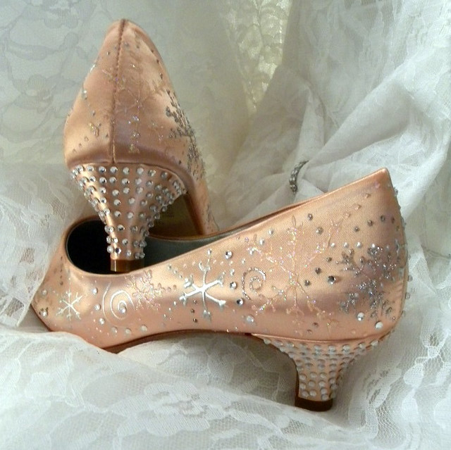 Wedding Shoes snowflakes and swirls crystals on the heels Desert Coral