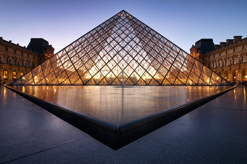 France - Paris - Louvre Pyramid at Dusk 01 v2