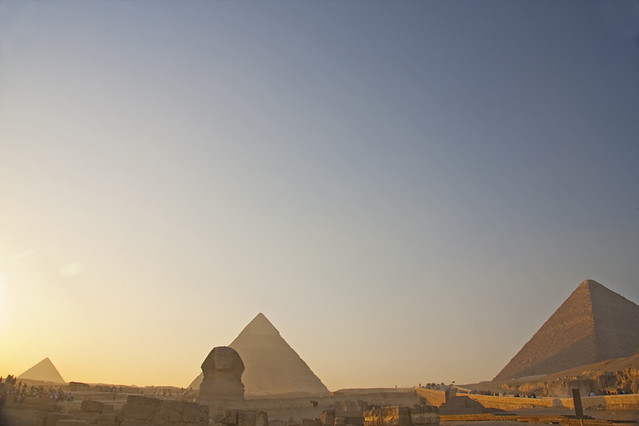 The Giza Pyramids (and Sphinx) at Sunset