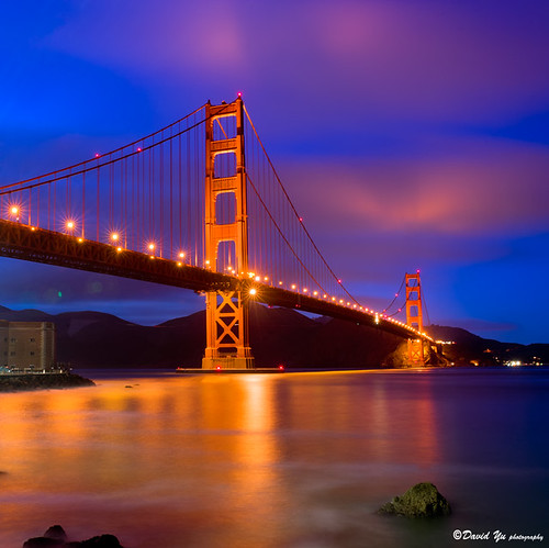 San Francisco Golden Gate Bridge twilight blue moment with red clouds - David Yu
