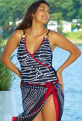 55265f368ad Free Matching Sarong! Pelligrino Wrap Sheath Plus Size Swimwear by YBL®